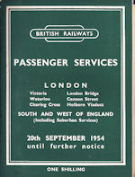 BR Southern Region Passenger Services - London Victoria, Waterloo, Charing Cross, London Bridge, Cannon Street, Holborn Viaduct 20th September 1954 until further notice