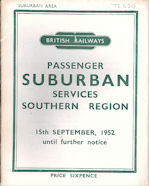 BR Southern Region Suburban Services - 15 September 1952 until further notice