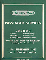 BR Southern Region Passenger Services 21 September 1953 until further notice