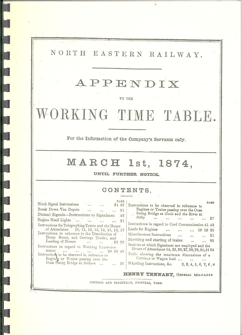 NER March 1st 1874 - Appendix to the Working Timetable